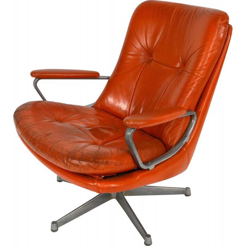 Strässle Swivel Desk Chair In Orange Leather And Aluminium, Andre  VANDENBEUCK   1960s