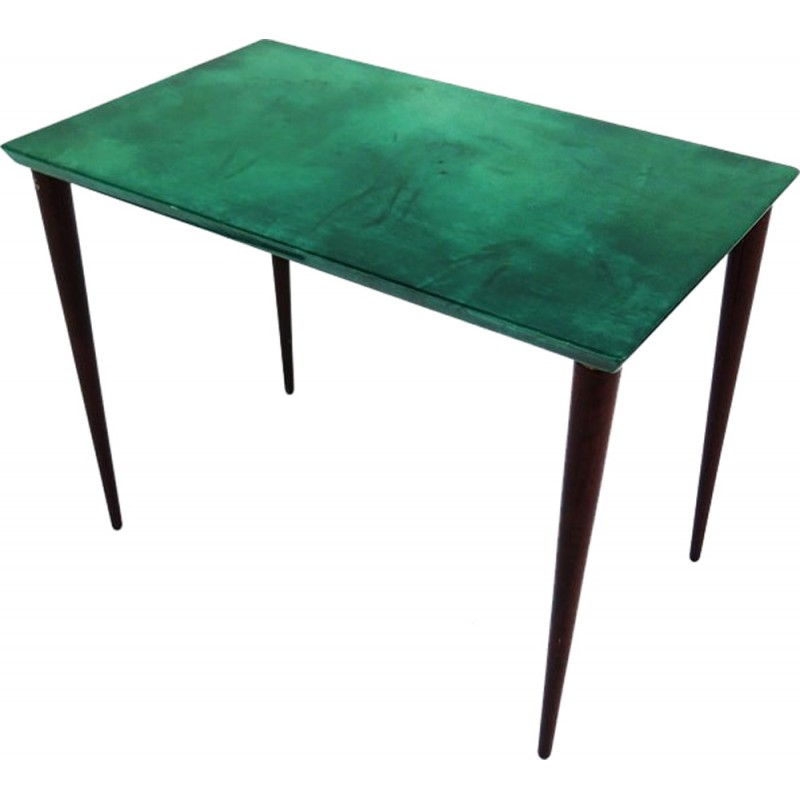 Side table in turquoise parchment, Aldo TURA - 1970s