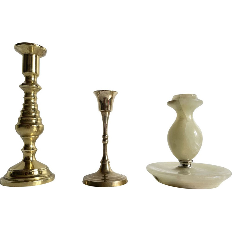 Set of 3 vintage brass and onyx candleholders, 1970s