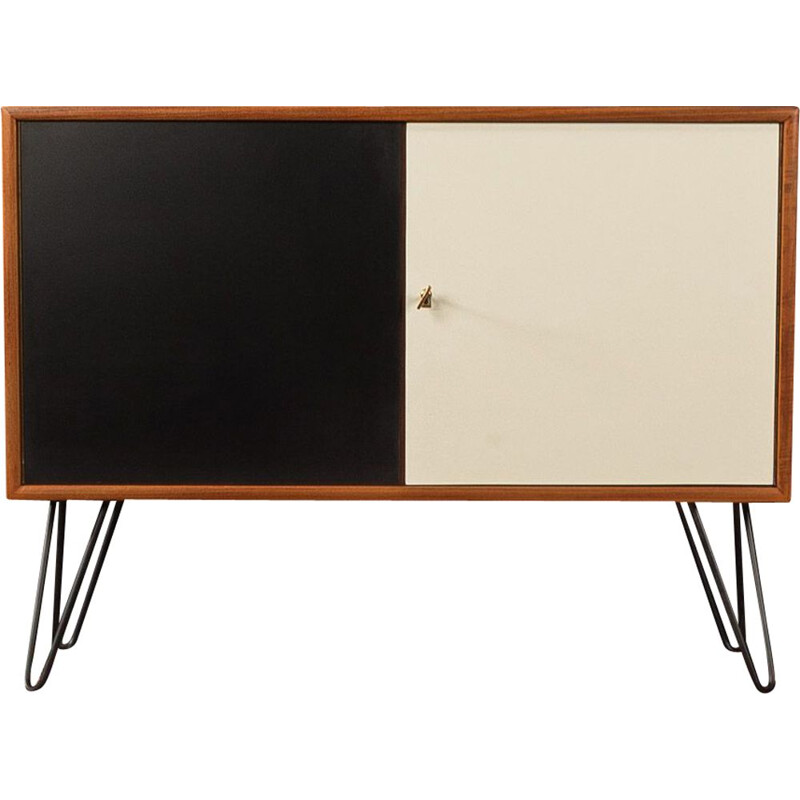 Vintage dresser in teak veneer with two formica-coated in black and creamy white, 1960s