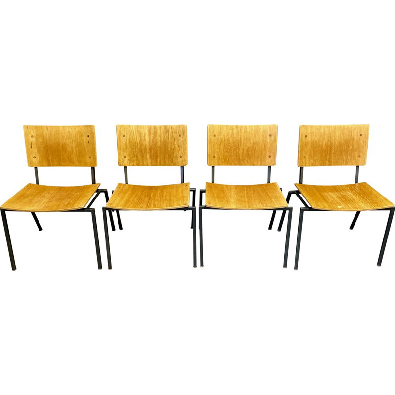 4 vintage industrial chairs, 1960s