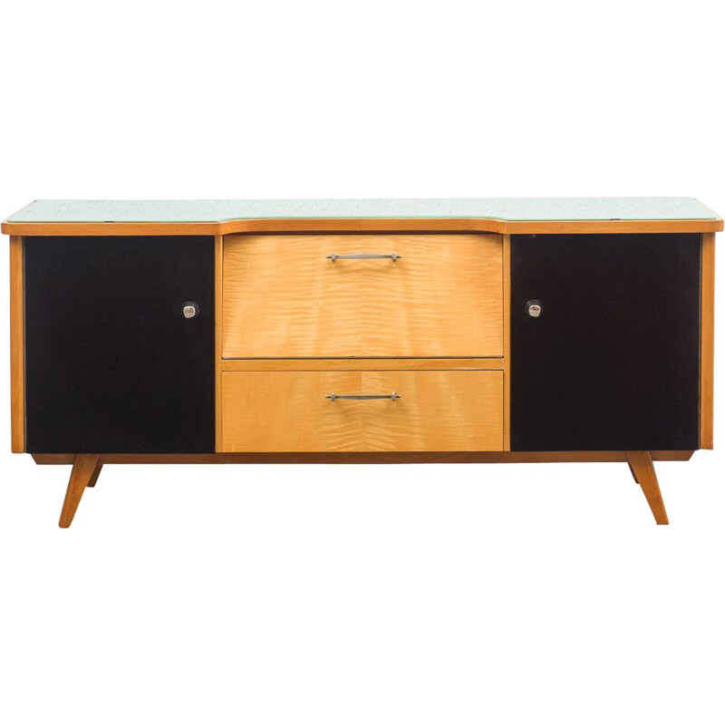 Mid century dresser in two tone wood and glass top, 1950s