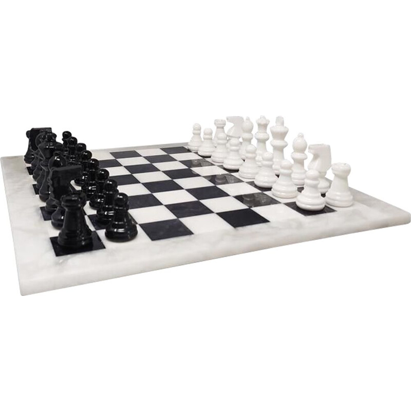 Vintage alabaster handmade black and white chess, Italy 1970s