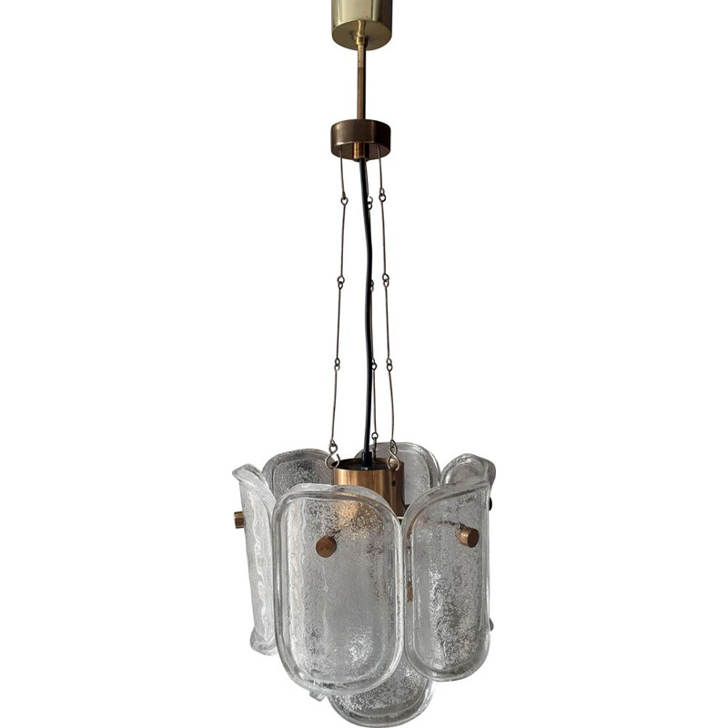 Vintage brass and bubble glass pendant lamp by Limburg, Germany 1970s