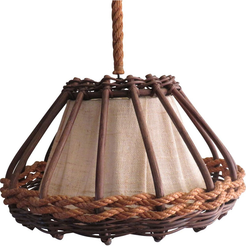 Vintage hanging lampin bamboo and cord by Jute, France 1970s