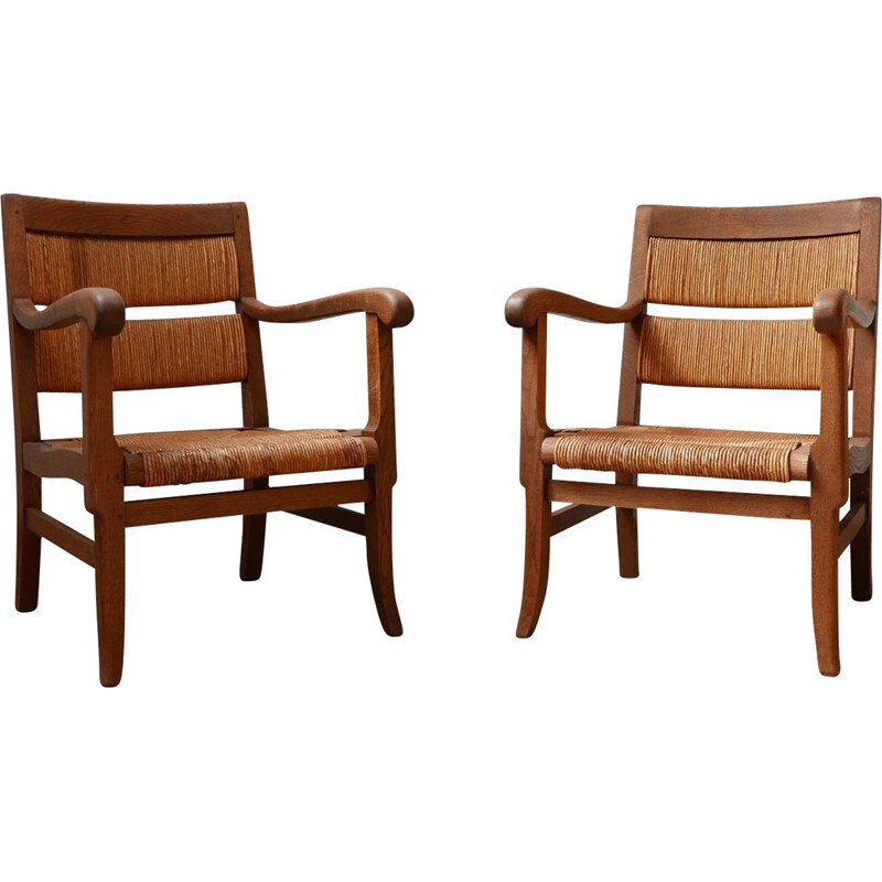 Vintage pair of French mid-Century rush armchairs