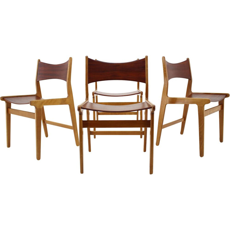 Set of 4 Teak and Beech Dining Chairs, Denmark 1960s