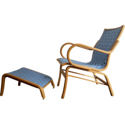 Lounge chair with Ottoman in birch and cotton, Bent OLSEN - 1970s