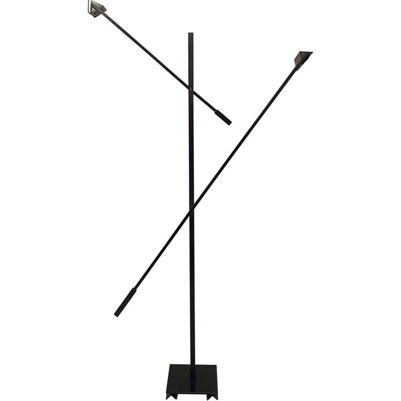 Vintage double swing floor lamp by Stilnovo in black lacquered metal, 1970