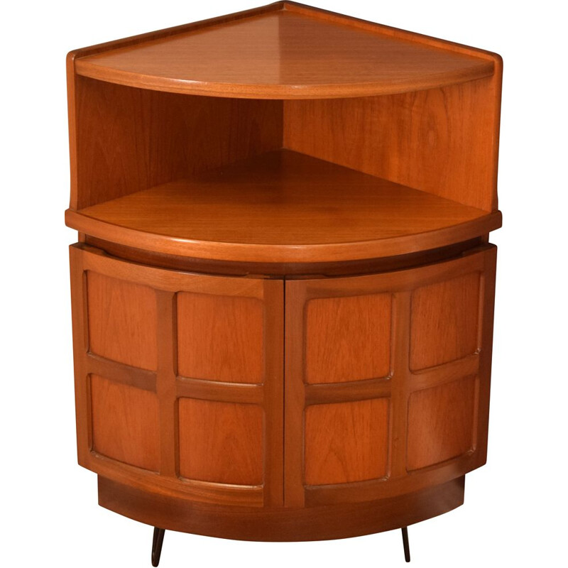 Mid century teak squares corner unit on nairpin legs by Nathan 1960s