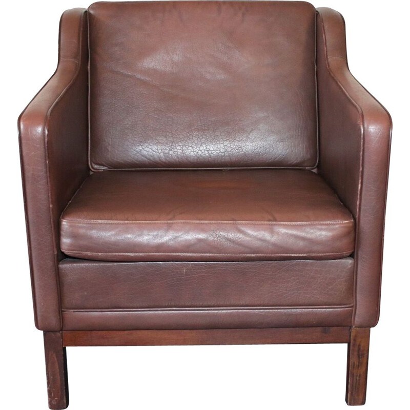 Vintage danish armchair in leather, 1970s