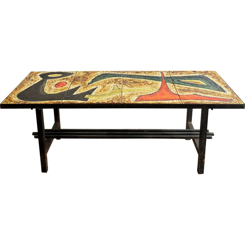 Vintage coffee table with enamelled lava top and abstract design, France 1960s