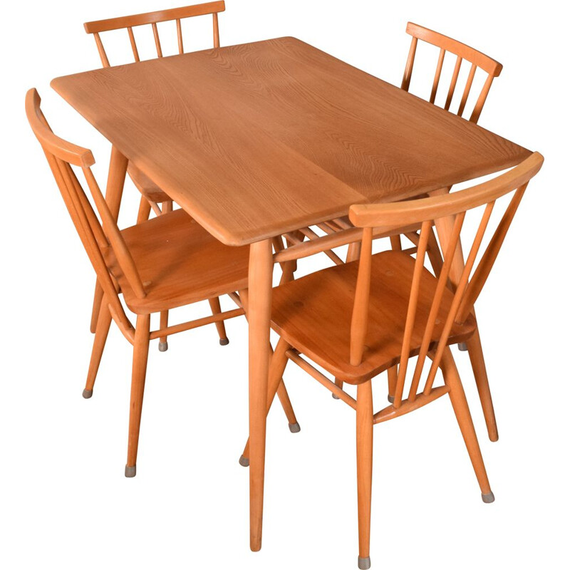 Set of vintage Ercol 393 breakfast table and 4 391 dining chairs by Lucian Ercolani, 1960s