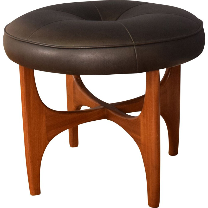 Mid century black leather and teak stool by Victor Wilkins for G Plan 1960s
