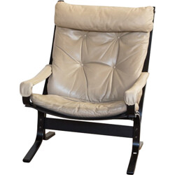 Norwegian easy chair in leather and beech, ingmar RELLING - 1970s