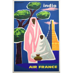Air France India Poster, Guy GEORGET - 1963