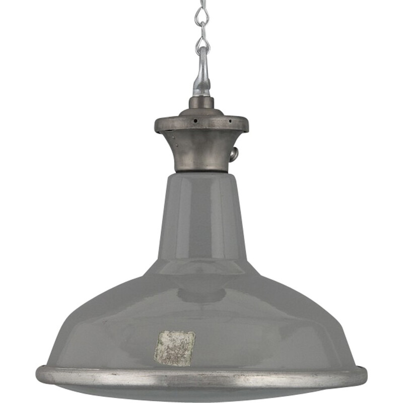 English Benjamin industrial hanging lamp in grey enamel - 1950s