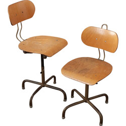 Set of 2 height-adjustable industrial chairs - 1970s