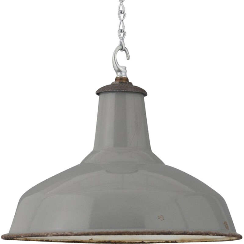 Benjamin industrial grey hanging lamp in steel - 1950s