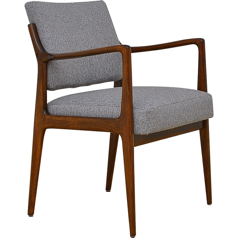 Vintage scandinavian desk chair with gray upholstery, 1960s