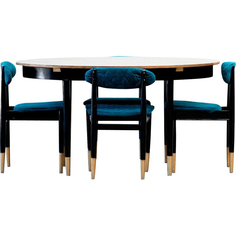 Black and gold Scandinavian vintage table and 4 chairs set, 1960