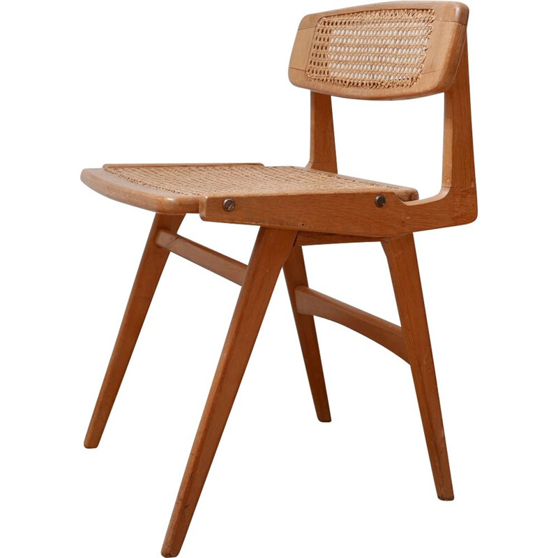 Mid century wood and cane desk chair by Roger Landault, France 1950s