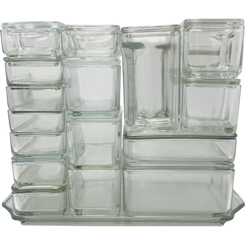 Set of vintage Bahaus glass containers by Wilhelm Wagenfeld, Germany 1930s