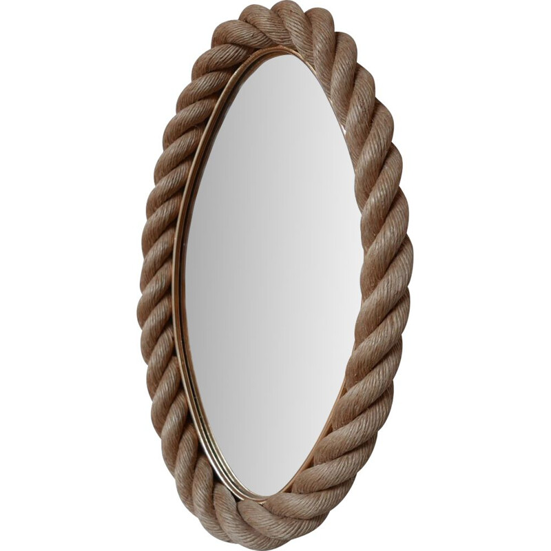 Mid century french rope mirror by Audoux-Minet, France 1960s