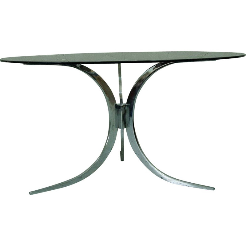 Vintage italian chrome and glass coffee table, 1970s
