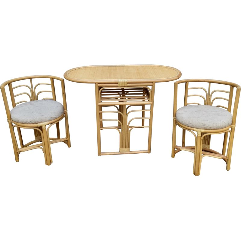 Set of vintage table and 2chairs rattan dining, 1980s