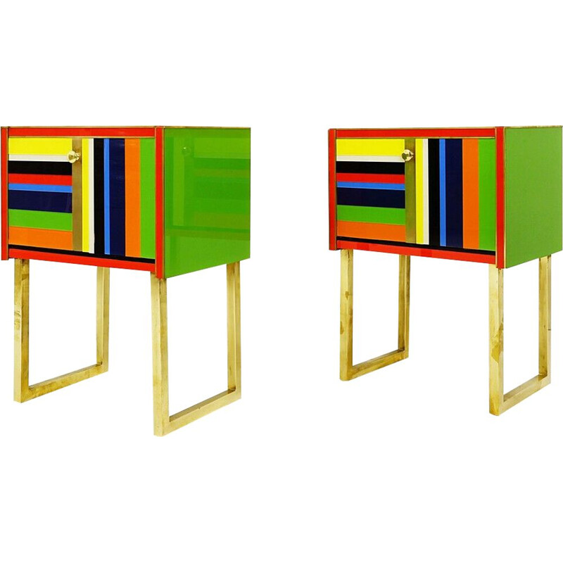 Pair of vintage italian glass bedside tables