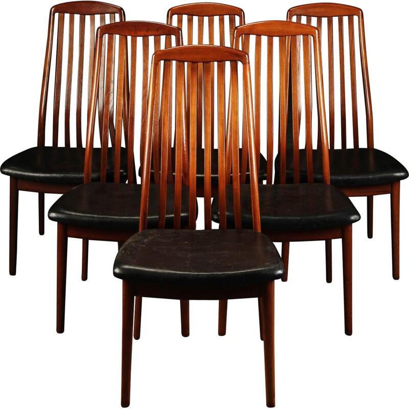 Set of 6 vintage danish chairs in solid teak and leather seats,1960s