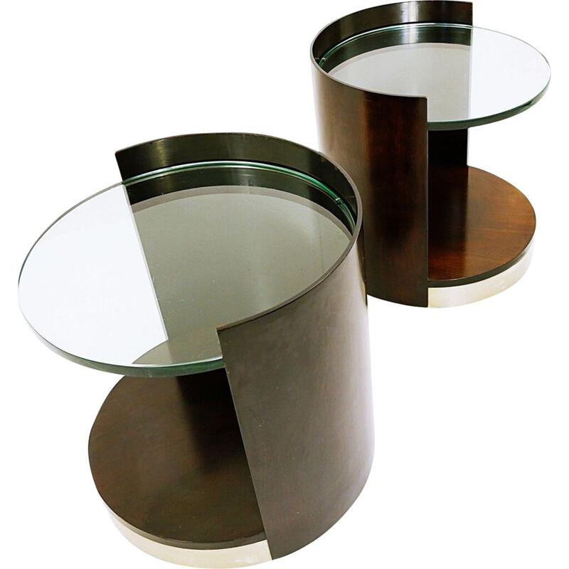 Pair of vintage end-tables in dark wood and glass, 1970s