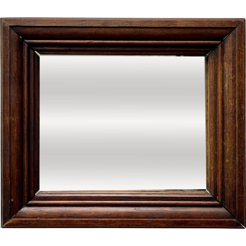 Mid century rectangular mirror with thick wooden frame, 1930s
