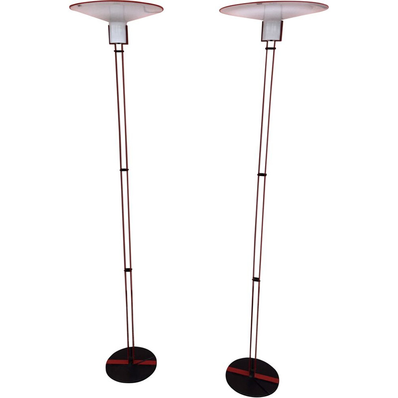 Pair of vintage floor lamps with steel frame and murano glass dome for Veart, Italy 1970