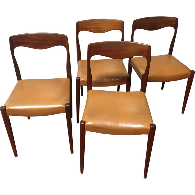4 vintage rosewood chairs by Niels Otto Moller, circa 1950