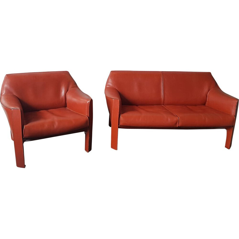 Vintage living room set cab 415 by Mario Bellini for Cassina, 1980s
