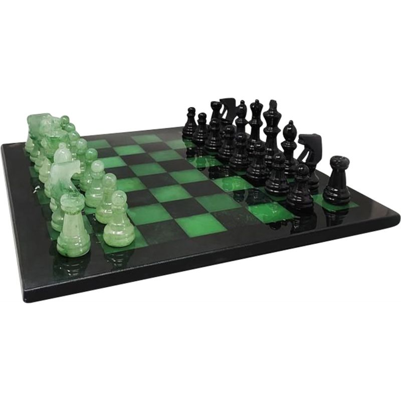 Vintage black and green chess set in Volterra Alabaster handmade, Italy 1970s