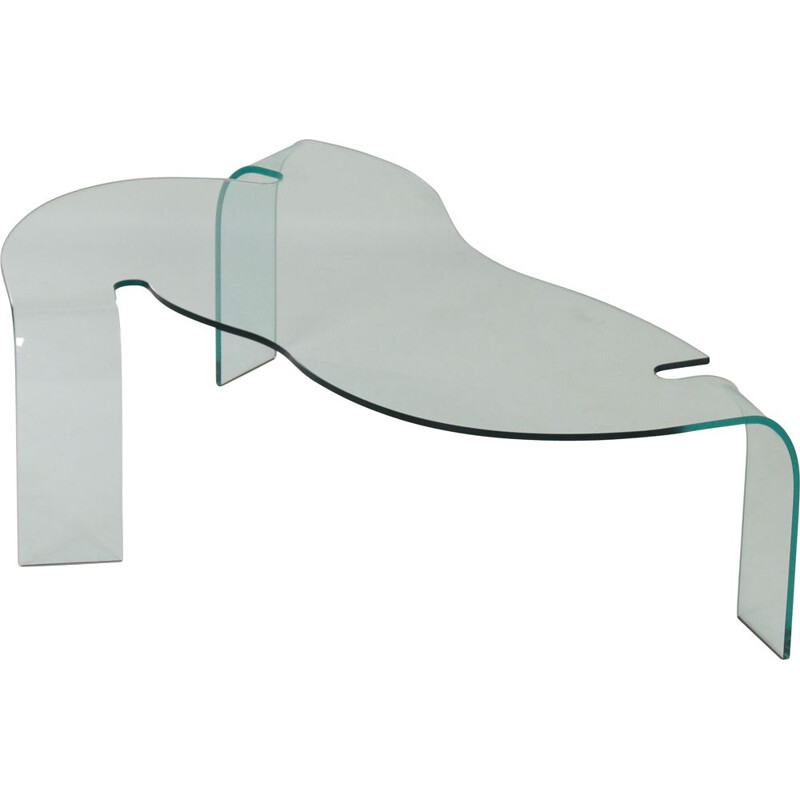 Mid century glass coffee table by Hans von Klier for Fiam, Italy 1990s