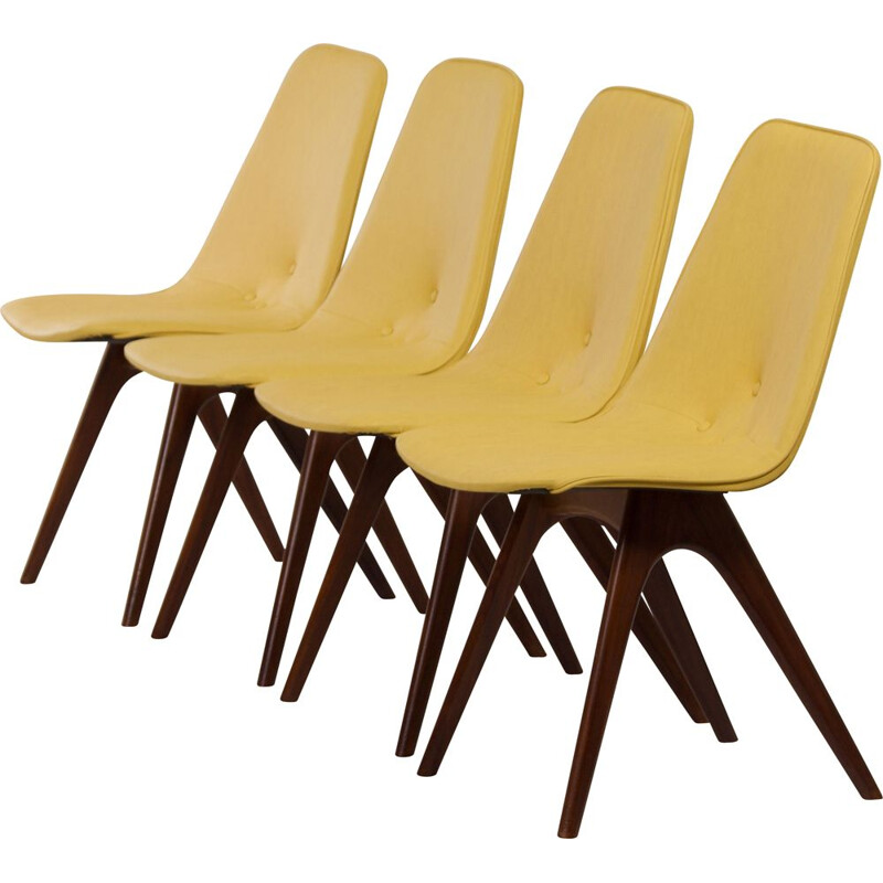 Set of 4 vintage yellow teak dining chairs by Van Os, 1950