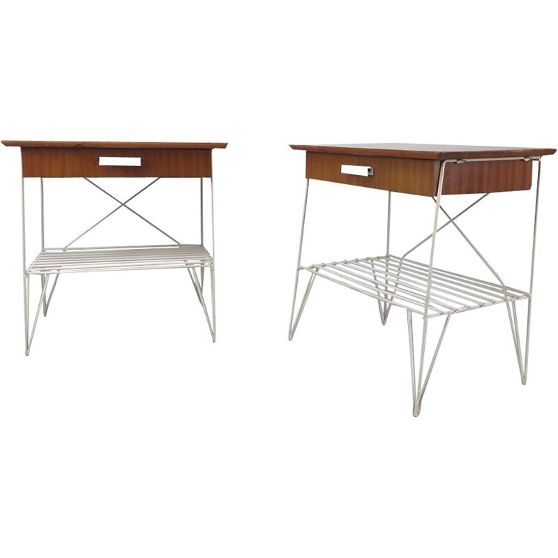 Pair of vintage swedish bedside tables with steel legs, 1950s