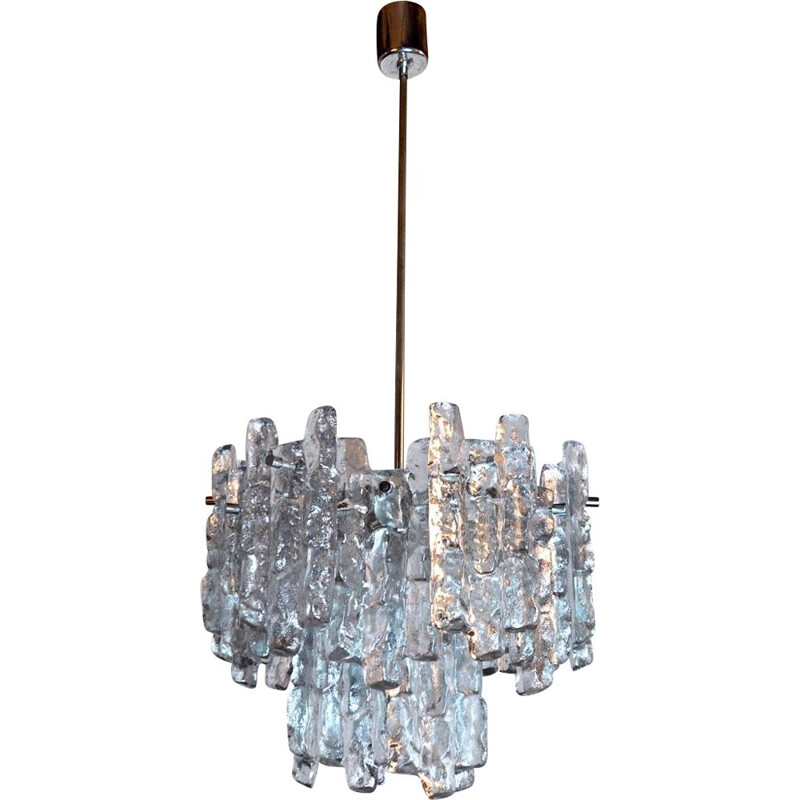 Mid century J.T Kalmar frosted glass chandelier with 2 levels, Austria 1970s