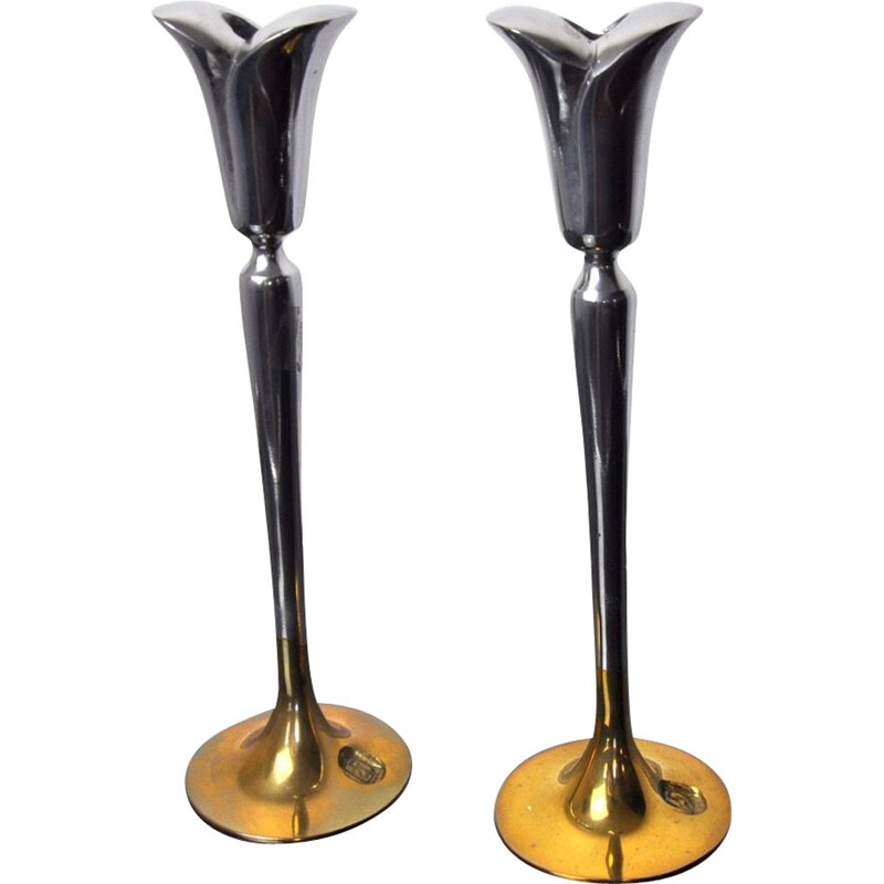 Pair of vintage brutalist candlesticks in aluminium and gilded metal by Art3, Spain 1980s