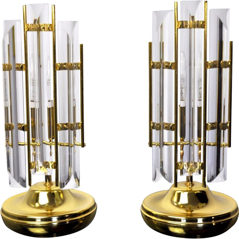 Vintage pair of Venini lamps, Italy, 1970