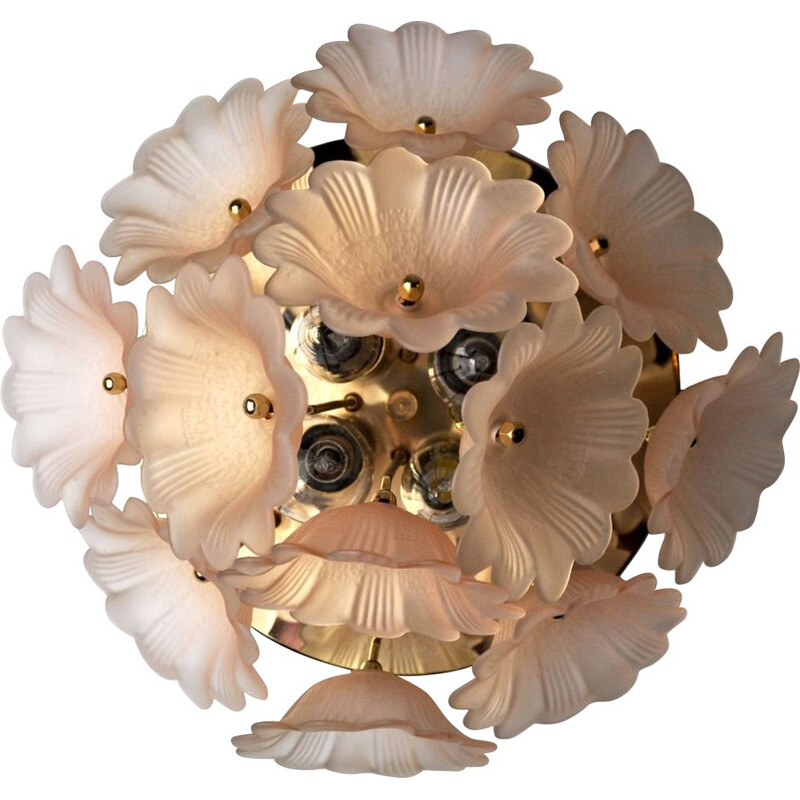 Mid century flower ceiling lamp by Murano Mazzega, Italy 1970s