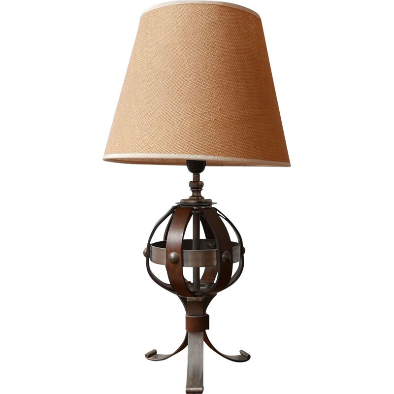 Mid century leather and iron table lamp by Jean-Pierre Ryckaert, France 1950s
