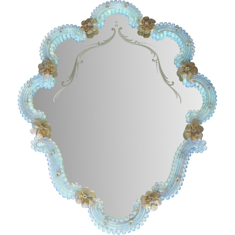 Large vintage Murano opalescent mirror Campanula, Italy 1940s