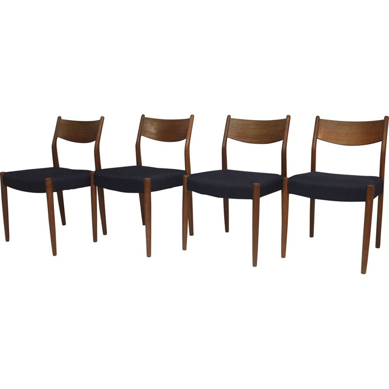 Set of 4 mid century teak chairs by Cees Braakman for Pastoe, 1960s