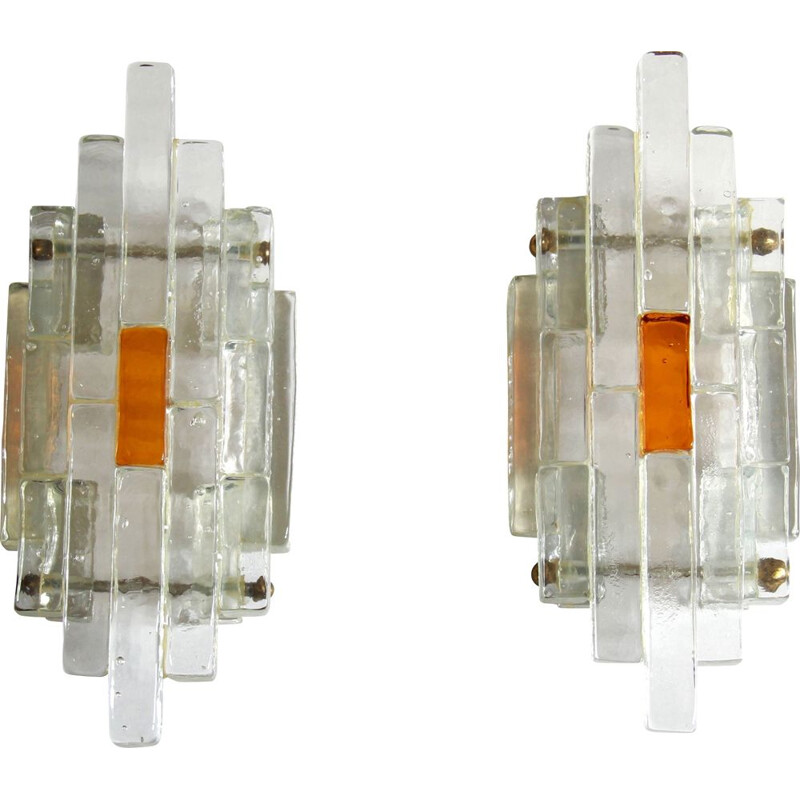 Pair of vintage wall lamps Ambrosia by Albano Poli for Poliarte, Italy 1960s
