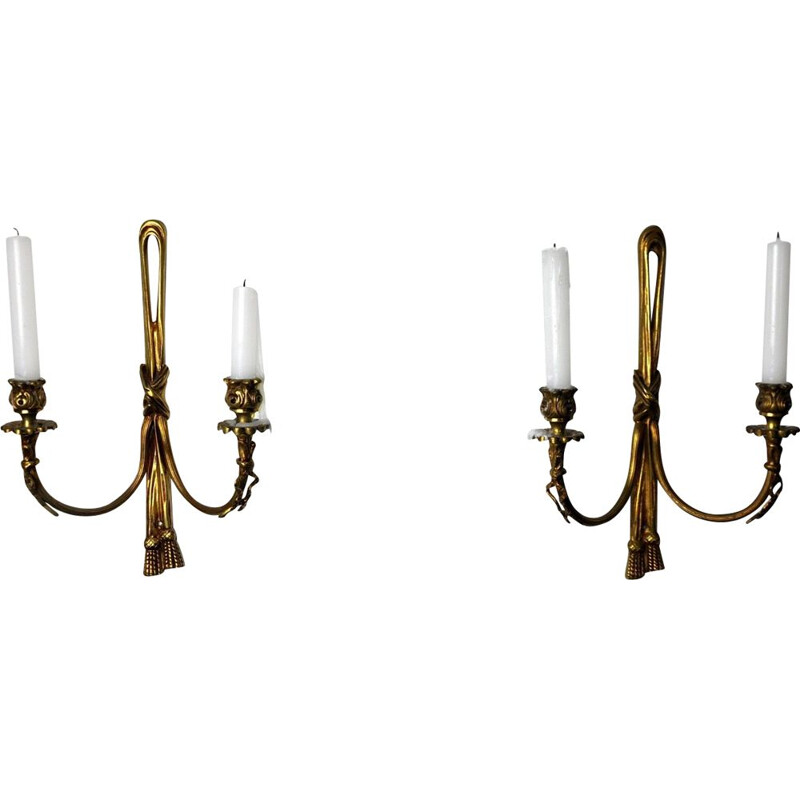 Pair of vintage brass candle holders, France 1980